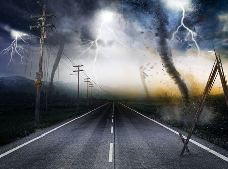Destructive powerful Tornados along a road leading to the horizon with lightning in the background, 3d render