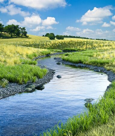 Beautiful cold creek running through a scenic meadow landscape in summer, 3d render with photographic elements. 写真素材