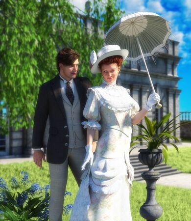 Tender lovers out for a walk, young couple, man and woman in Edwardian Victorian stylish costumes, in a park on a sunny day, book cover template, 3d render illustration. 写真素材