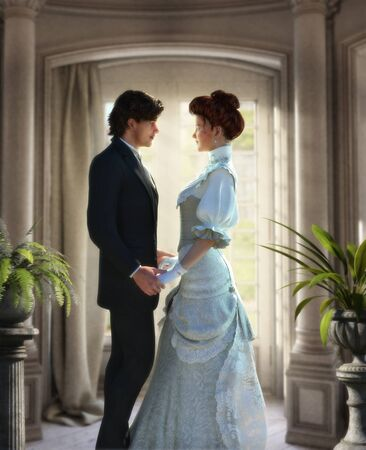 Tender lovers holding hands, looking in each others eyes, young couple, man and woman in Edwardian Victorian stylish costumes, book cover template, 3d render illustration. 写真素材