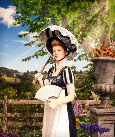 Portrait of an elegant Jane Austen style woman strolling the countrysideon a summer day, Regency dress, 3d render Imagens
