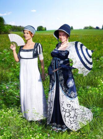 Two beautiful young women dressed in Victorian Regency Jane Austen style fashion dresses strolling through a meadow, friendship, 3d render.