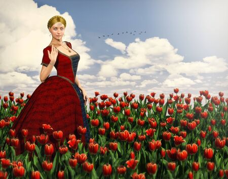 Beautiful woman in a medieval princess dress in a red flower field of tulips in the summer, 3d render.
