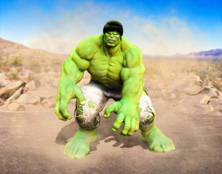 Marvel Comics superhero the incredible Hulk is angry and ready to do battle in a desert, 3d render iillustration. Publikacyjne