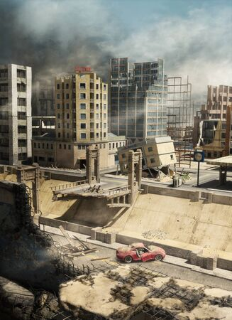 Earthquake destroyed, ruined an entire modern city, natural disaster, 3d render. 写真素材