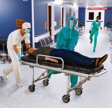 Coronavirus covid-19 quarantine emergency room scenario with patient on stretcher and doctors Foto de archivo