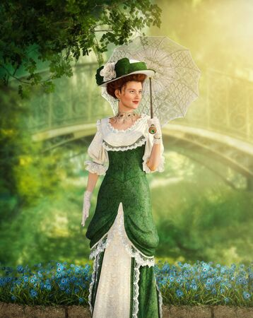 Portrait of an elegant Jane Austen style woman strolling the in a park on a summer day, Regency dress, 3d render Imagens
