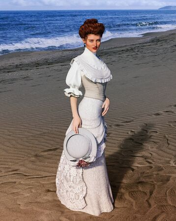 Portrait of an elegant style woman at the beach on a summer day