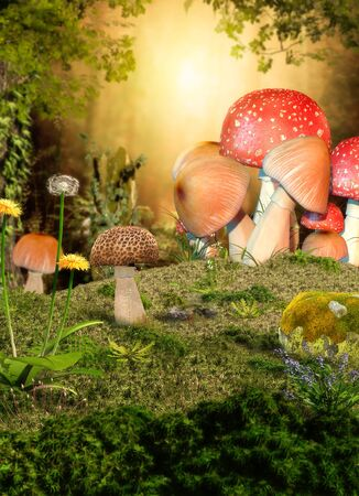 3D rendering of a magical fairy forest opening with mushrooms in the foreground. Zdjęcie Seryjne