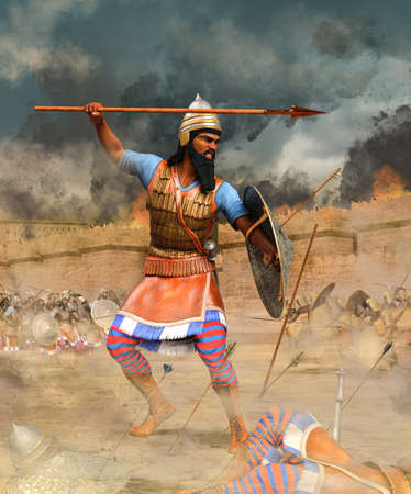 Assyrian infantry warrior, with spear and shield, part of an Assyrian army attacking ancient Egyptian city walls, 3d render.