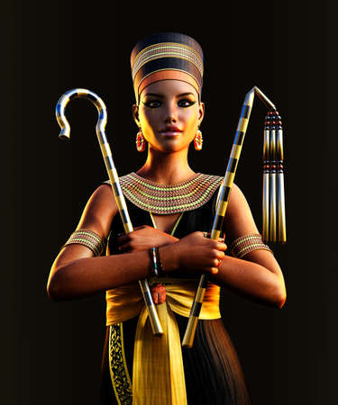 The beautiful last Egyptian Princess, Queen, Pharaoh, Cleopatra, holding her signs of power, 3d render.