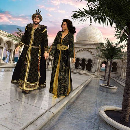 Schehereyar and Scheherezade, the king and his bride from the stories of Arabian Nights, One thousand nights and a night, strolling through the garden of the palace, 3d render.