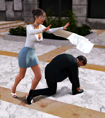 Female co-worker trips over businessman tying his shoe, dropping her papers, in an office lobby, 3d render. 写真素材