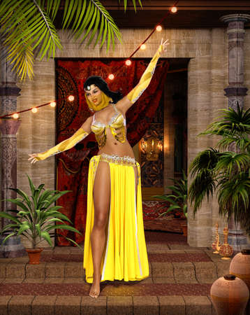Beautiful middle eastern belly dancer with traditional veil and bedlah costume, 3d render.