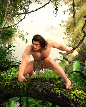 Legend of the apeman, Tarzan, king of the jungle, swinging on a vine through the African rainforest, 3d render.