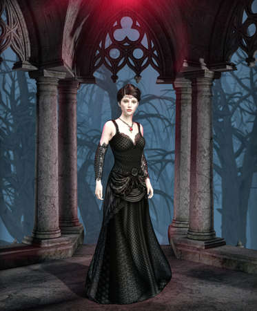 The dark and mysterious Princess of Darkness, a perfect brooding and dark Gothic female vampire, drop-dead elegant seductress, 3d render.