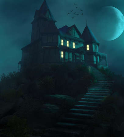 Spooky Halloween haunted manor on a hill against the moon in a foggy night, 3d render.