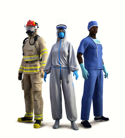 Courageous essential workers risking their own lives to save ours, fireman, bio nurse, doctor isolated on white background, prepared to fight Covid-19, 3d render. Imagens