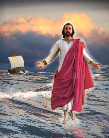 Jesus Christ walking on water of the Sea of Galilee with the disciples in a fishing boat and a cloudy sunset in the background, 3d render.