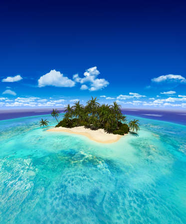 Beautiful panorama view of a small tropical island in a turuoise sea.