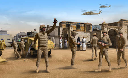 American infantry soldiers on patrol with fighting vehicles in a Middle Eastern town, 3d render. 写真素材