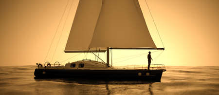 Scenic view of yacht sailing at sunset with a silhouette of a man, 3d render.