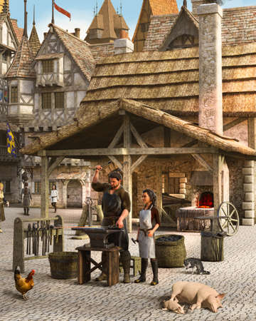 Blacksmith at work outside his shop in a medieval European town, 3d render.
