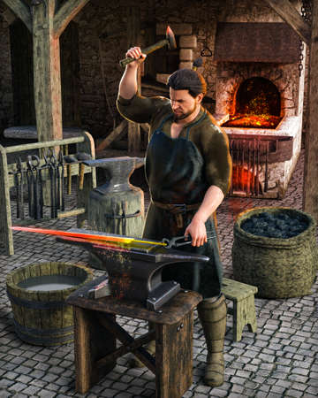 Blacksmith at work outside his shop in a medieval European village, 3d render.