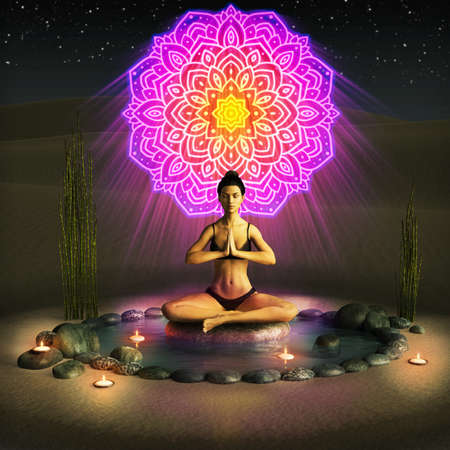A girl practicing a yoga and meditation ritual in the desert at night, 3d render.