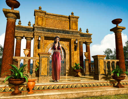 Beautiful woman, dressed in greco roman fashion, standing in front of an antique garden balustrade entrance, 3d render illustration.