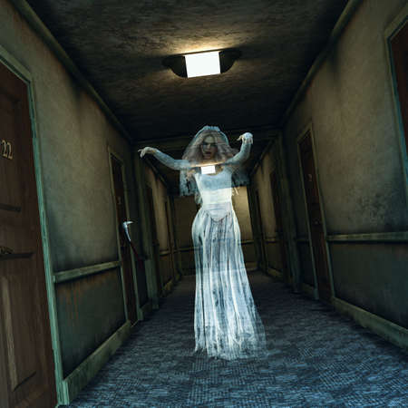 A creepy and spooky hotel corridor haunted by a female ghost in bride dress, 3d render. Concept of Halloween horror. Imagens
