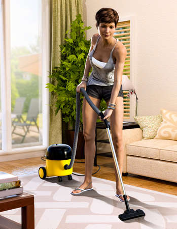Cute brunette woman using a vacuum cleaner on a rug in her living room, 3d render.