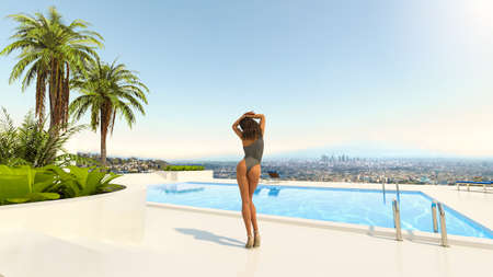 Young beautiful woman posing near a swimming pool in a garden with a wonderful view of downtown Los Angeles in the background, California, USA, 3d render illustration. Imagens