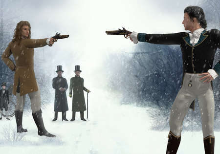 Two victorian men facing each other in a duel with flintlock pistols, in a barren winter landscape, 3d render. 写真素材