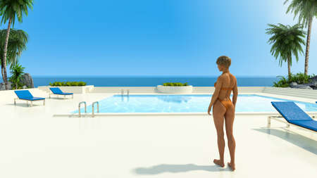 A young woman in a bikini relaxing by the swimming pool of a luxury beach resort and spa near a tropical ocean, 3d render. Travel, Vacation.