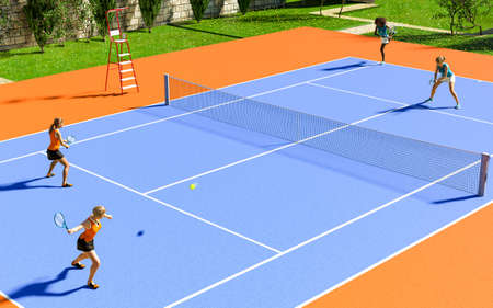Women playing two pairs double tennis match on a sunny day, 3d render.