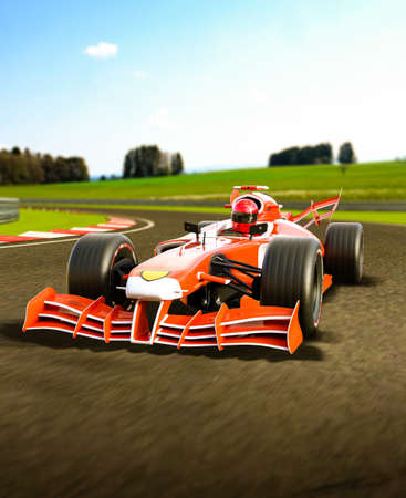 Red open wheeled single-seater forceful formula race car in a curve, 3d render