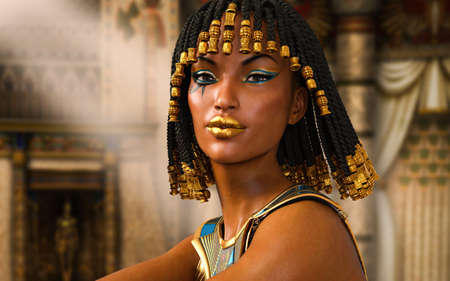 Close up portrait of the beautiful last Egyptian Princess, Queen, Pharaoh, Cleopatra, 3d render.