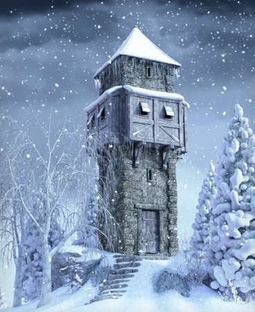Old stone watch medieval watch tower in a snow covered winter landscape, 3d render.