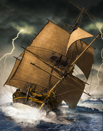 Ocean sailing ship riding the waves, struggling to stay afloat in a heavy thunder storm with lightning, 3d render.