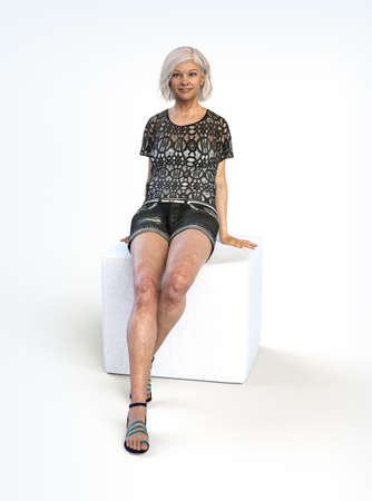 Beautiful older woman with gray hair sitting and smiling on a seat cube, 3d render on a white background.