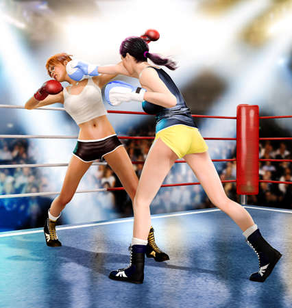 Two women boxing together landing a knock-out punch, 3d render.