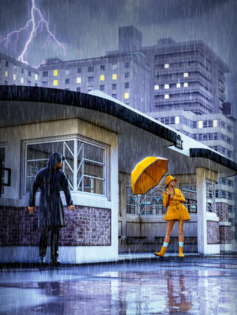 Young pretty woman in bright yellow rain coat holding an umbrella as a man watches stalking in the background at an urban bus stop, 3d render.