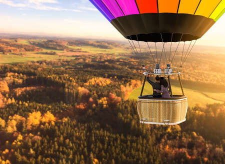 Aerial view of a European landscape from a hot air balloon with a loving couple, 3d render with photo element.