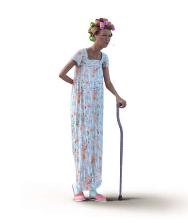 An eccentric senior woman, wearing a nightgown and hair curlers, with a walking cane and a cigarette in her mouth, 3d render.