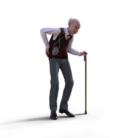 An eccentric senior man with a walking cane suffering from back pain, isolated on white background, 3d render. Imagens