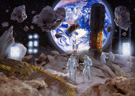 Concept of asteroid mining in space for rare raw materials, 3d render. Stok Fotoğraf