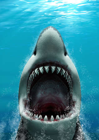 Great White Shark (Carcharodon carcharias) attacking with its mouth open and large teeth, rising fast to the surface, 3d render. Imagens