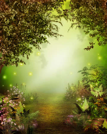 Magical enchanting forest opening with a path leading to a heavenly light, 3d render.