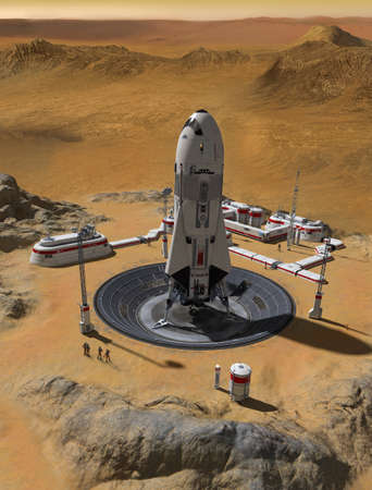 Human settlement base on planet Mars with a rocket launch pad and a view over the red planet, 3d render. Archivio Fotografico